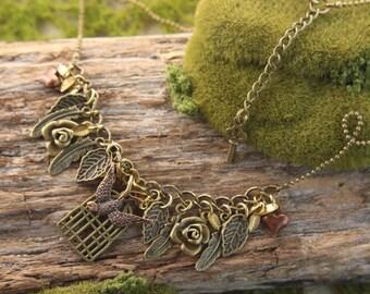 Bird Birdcage Charms Necklace SALE