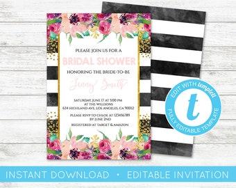EDIT YOURSELF, Kate Bridal Shower Invitation, Black White Striped Invitation, Black and Pink Invitation, Spade Shower Gold Glitter Templett
