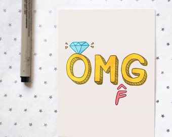 Funny Engagement Card for Best Friend Sister Cousin   OMFG Ring   Funny Wedding Card for Bride   Congrats   Bridal Shower Card for Her