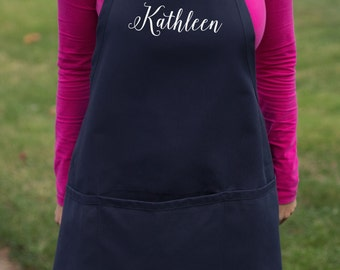 Personalized apron. Navy blue white name apron with pockets. Birthday Gift. Gift for chef, cook, baker. Teacher holiday gift Bride gift idea