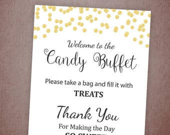 Candy Buffet Sign, Printable Candy Bar Sign, Gold Confetti Table Sign, Grab a Treat Sign, Baby Shower, Bridal Shower Decor, A001
