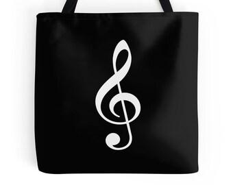 G Clef Bag, Treble Clef Bag, Music Bag, Music Tote, Gift for Musician, Music Purse, Music Handbag, Musician Bag, Music Bag, Sing Tote, Music