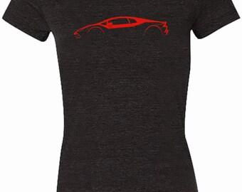Lamborghini Huracan Red Silhouette T-Shirt for Women