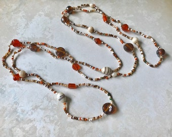 Vintage glass beaded and seed beads flapper necklace