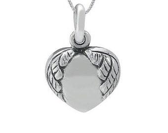 Sterling Silver Angel Wing Heart Pendant (P902)