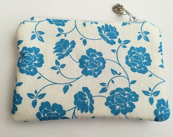 Coin Purse,Turquoise and White Purse, Cosmetic Pouch,Girls Purse