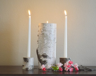 Unity Candle Holder Set - Wedding Ceremony, Rustic Birch Natural Unity Candle