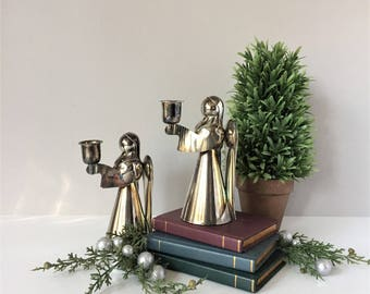 Two Angel Candleholders, Vintage Silver on Brass, Tarnished Metal Candlesticks, Mid Century Christmas Angels, Mantelpiece Centerpiece Decor