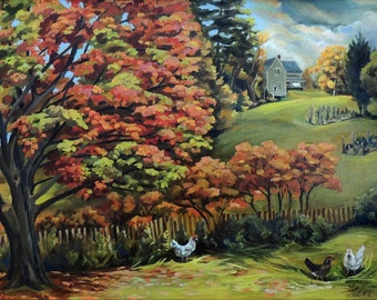 Autumn Hills of Vermont Framed Oil Painting