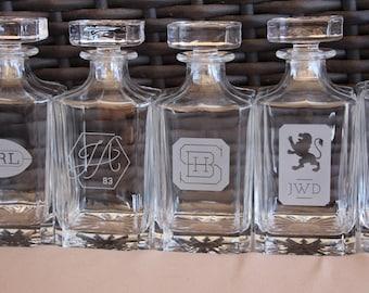 5  Personalized Whiskey Decanter Custom Logo Engraved Glass Whiskey  Decanter Barware Liquor Bottle Fireball Whiskey
