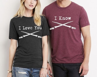 I Love You I Know His and Hers shirt set Crew neck tri blend shirt, For him, For Her, Couple shirts, Mens, Ladies, Valentines Day Gift
