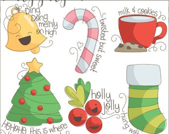 Sassy Christmas Clipart -Personal and Limited Commercial Use- Christmas Tree, Bell, Candy Cane, Milk and Cookies, Stocking, Holly Clipart