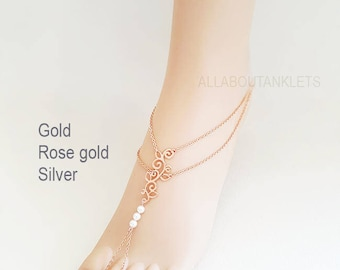 Rose gold Barefoot Sandals Beach Wedding Shoes bridal Anklets
