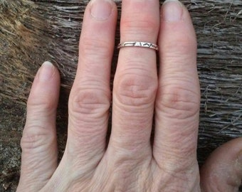 Organic Rustic .925 Sterling Silver Stackable Midi Band Ring - Size 5 1/2 -