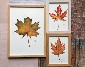 Maple leaves triptych, original leaves painting, maple leaf painting, watercolor maple leaves, fall artwork, watercolor triptych