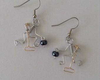 Curling Player Earrings with Hematite Stone