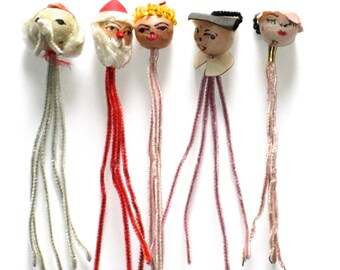 Spun cotton heads vintage lot of 5 different heads on pipe cleaners Christmas Santa Mrs Claus elephant scholar Japan crafting supplies