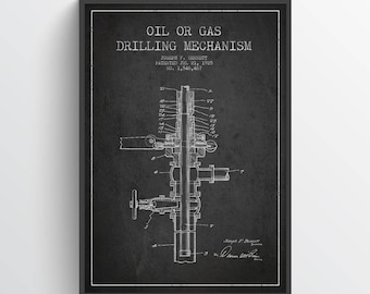 1925 Oil or Gas drilling Mechanism Patent Wall Art Poster, Texas Art, Home Decor, Gift Idea, PFEN08P