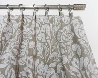 Natural linen valance. Kitchen curtain. Cafe curtains valance. Scandinavian style