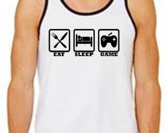 Eat Sleep Game / Gamer Tank Top / Video Game Tank Top / Video Game Shirt / Gamer Shirt / Gamer TShirt / Men's Tshirts / Video Game Gift