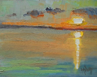 "Abstract Landscape, Sunset Over Water, Daily Painting, Small Oil Painting, ""Stuart's Sunset"", 6x8"" Oil Painting"