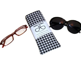 Sunglass Eyeglass Case Holder, Padded Glasses Case, Black & White Houndstooth Fabric, Eyeglass or  Sunglass Accessories, Gift For Women