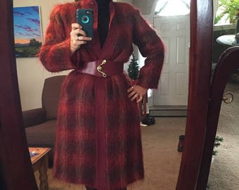 Oscar de la Renta Wine plaid mohair coat