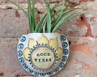 Wall Pocket, Vase, Ceramic Planter, Handmade, Clay, OOAK, Garden Art, Air Plant, Plant Pocket, Good Vibes Planter, Stoneware