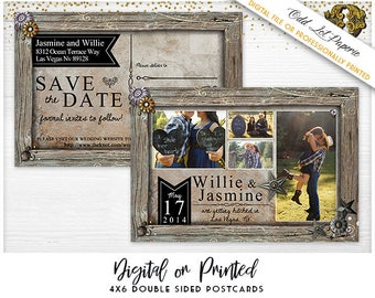 Photo Save the date Rustic Country Wedding Save the Date PRINTABLE Digital File or Printed 4x6 Postcard, Cowgirl Wedding Save Date Barn Wood