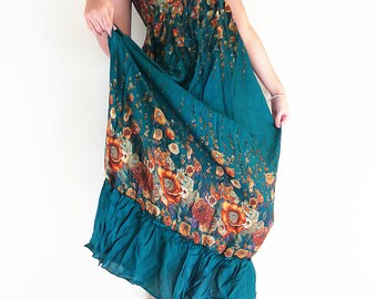 Women Maxi Dress Gypsy Dress Boho Dress Hippie Dress Summer Beach Dress Long Dress Party Dress Clothing Flower Printed Green Teal(DL31)