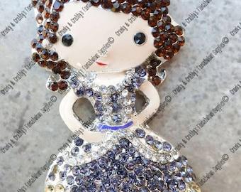 Original Design First Princess Rhinestone Pendant -  56mm x 30mm - Colored enamel on silver metal with rhinestones purple dress