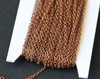 32 ft spool of Antiqued Copper plated round cable chain 2X2.5mm