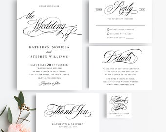 Wedding Invitation Suite Templates, Elegant Wedding Invitations Templates, Printable Wedding Invitations, Calligraphy Script Invitations