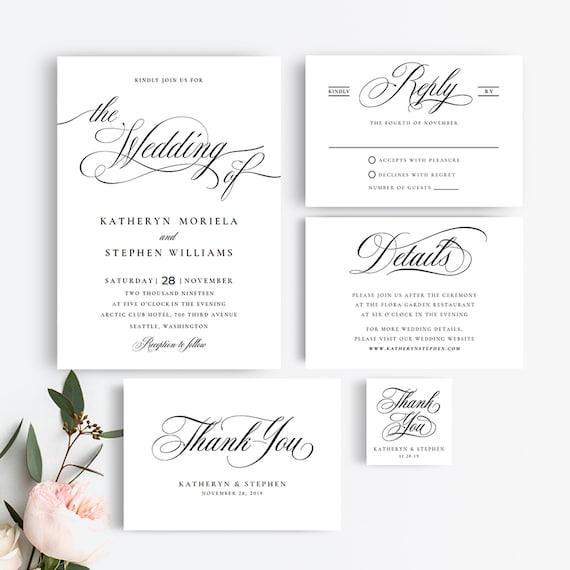 Wedding Invitation Suite Templates Elegant Wedding