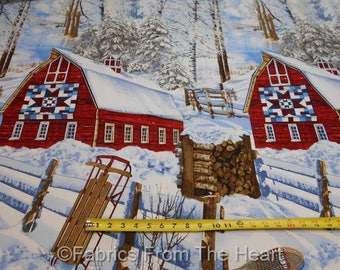 Winter Barn Quilts in Snow Woods Trees Sled  BY YARDS Timeless Treasure Fabric