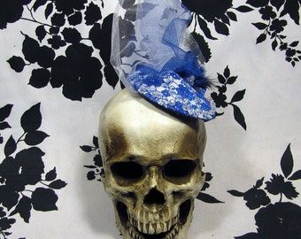 Blue and White Lace Overlay Goth Burlesque Fascinator Hat - Warning Label Creations - Darling Cold and Blue