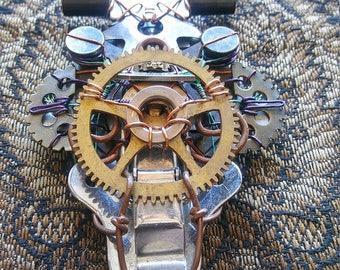 Unique clockwork steampunk brooch