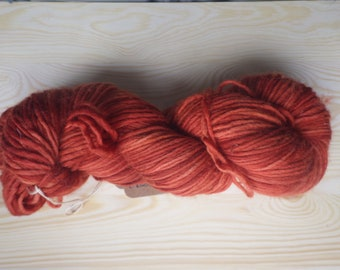 Pure Merino wool, hand dyed with madder root