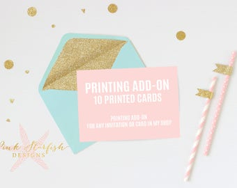 10 Printed Invitations with Envelopes