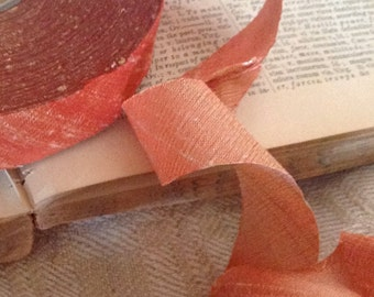 3 yards for sheriing orange coral dupioni silk ribbon beautiful wedding diy