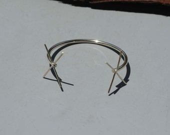 Solid Bronze Cuff Bracelet with 4 Prongs - Two Claws for Jewelry Making Supplies