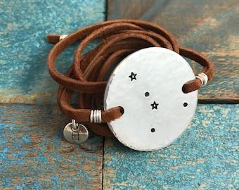 Cancer Bracelet / Leather Wrap Bracelet / Custom Jewelry / Cancer Jewelry / Zodiac Bracelet / Southwestern Jewelry / Constellation Bracelet