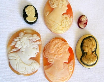 """Antique Vintage LOOSE CARVED CAMEOS for Repurpose 1/2"""" to 1 1/2"""" Ovals Lot of 6"""