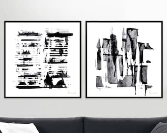 Abstract Art Print Set, 2 Black & White Abstract, digital downloads, Printable Abstract, instant download, Minimal Art 20x20 size, Art set