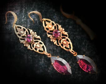 Amethyst purple Paisley drops ~Peacocks and Paisley~ vintage facet cut Czech glass jewels and Swarovski crystal with red brass filigree