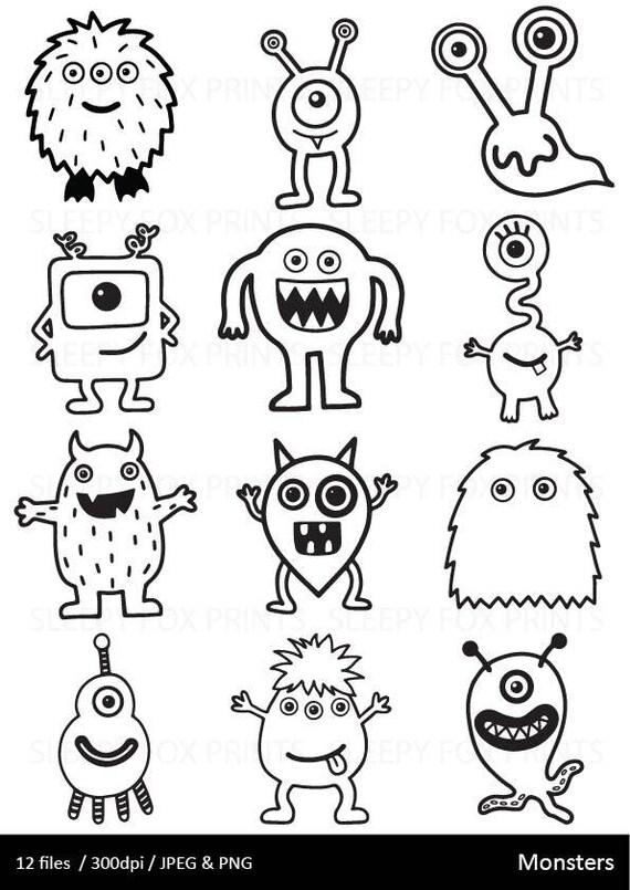 Monsters Clipart, Black and White, Monster Clip Art, Halloween, Boys ...