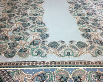 Powder Blue Paisley Border Print Satin Fabric - 58 Inches Wide