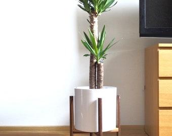 Mid century plant stand Walnut wood wooden retro planter mid-century small flower pot