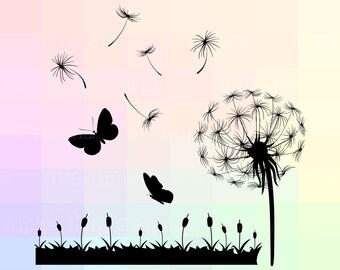Dandelion Silhouette, Dandelion Flower SVG, Dandelion Flower Dxf, Dandelion Cricut, Dandelion Cut File, Meadow Dandelion Vector