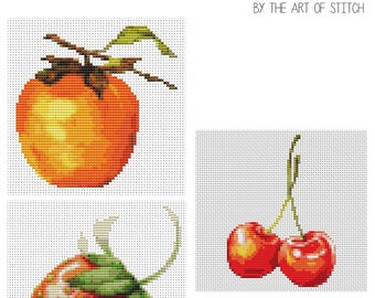 Fruits Cross Stitch Kit, Fruit Cross Stitch Series, Fruit Series, Embroidery Kit, 3 kits in one set (BOOK09)